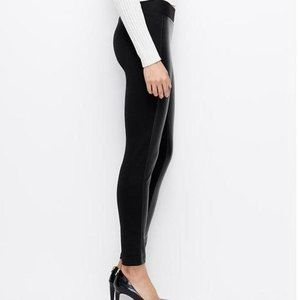 NWT LOFT Black Faux Leather Panel Legging Small